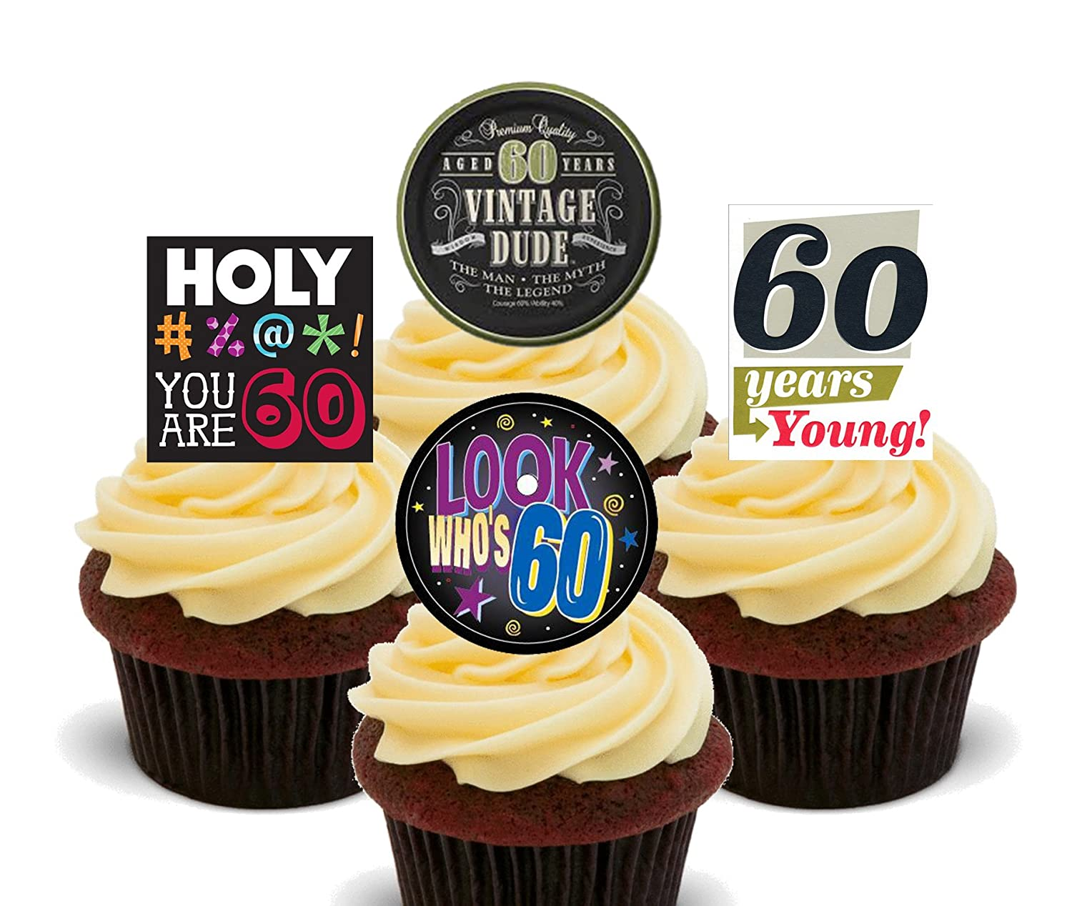 Tremendous 60Th Birthday Male Funny Edible Cupcake Toppers Stand Up Wafer Funny Birthday Cards Online Fluifree Goldxyz