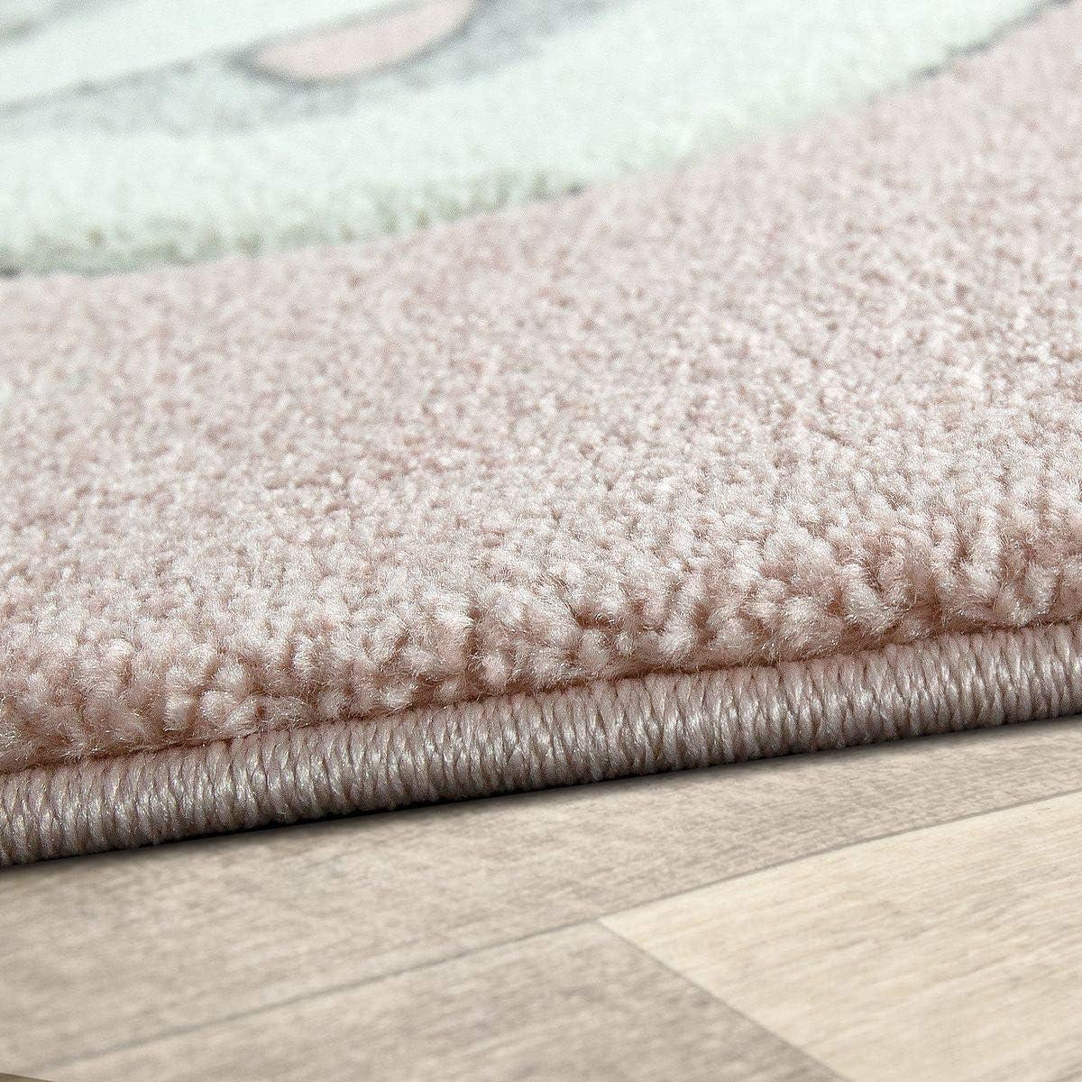 TT Home Kinder Teppich Moderner Spielteppich Einhorn Sternen Design Mit Wolken Rosa Gr/ö/ße:120x170 cm