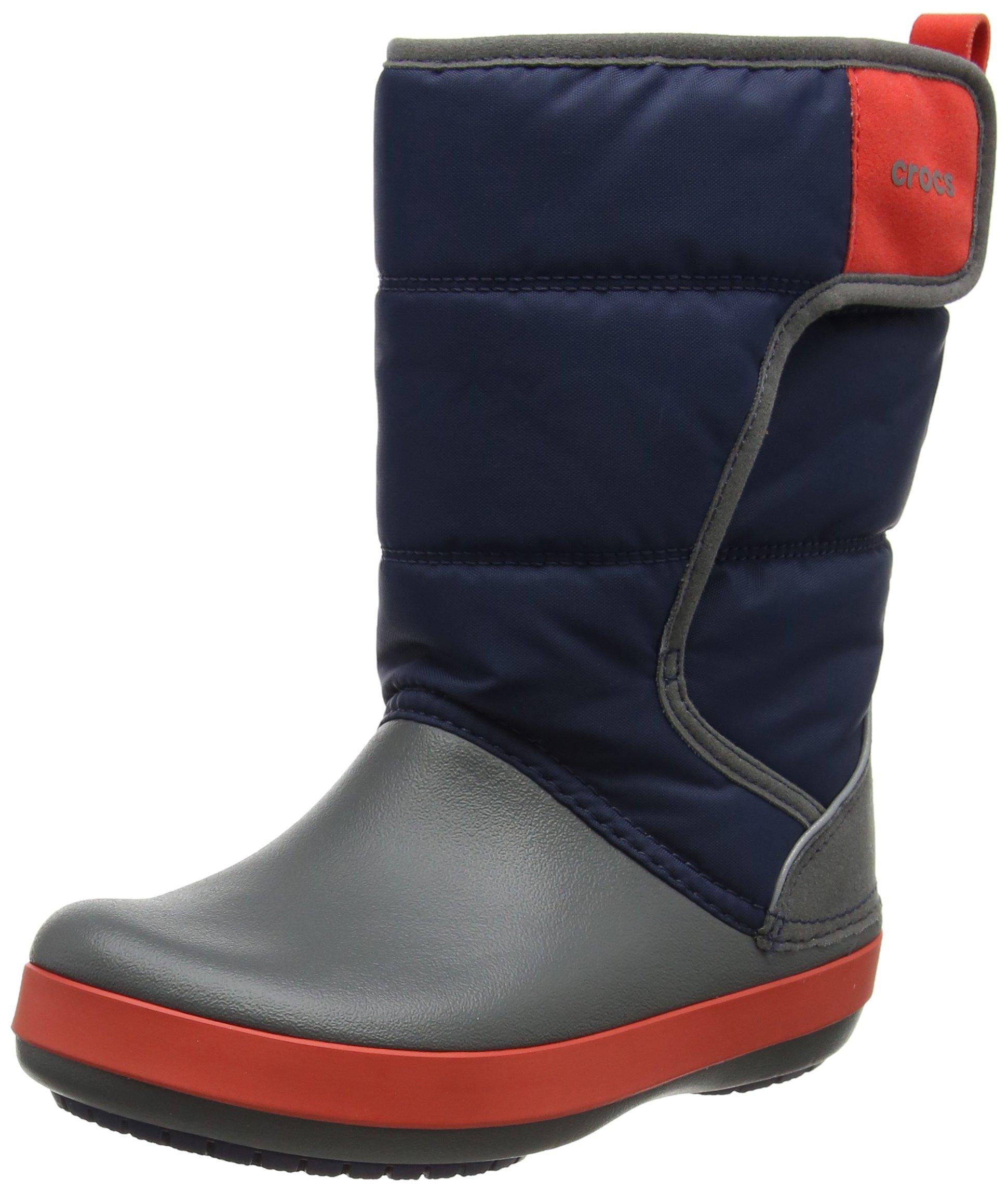 crocs Kids' LodgePoint K Snow Boot, Navy/Slate Grey, 12 M US Little Kid