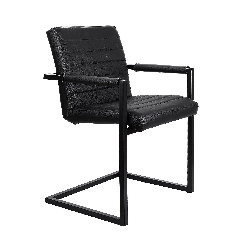 Feel Furniture -Conference Stuhl - Schwarz- Schlankem Industriedesign mit Hochwertigen Materialien  Büffelleder und Stahl. Elegantes Design Konferenzstuhl im Speisesaal, Büro und Konferenztisch.