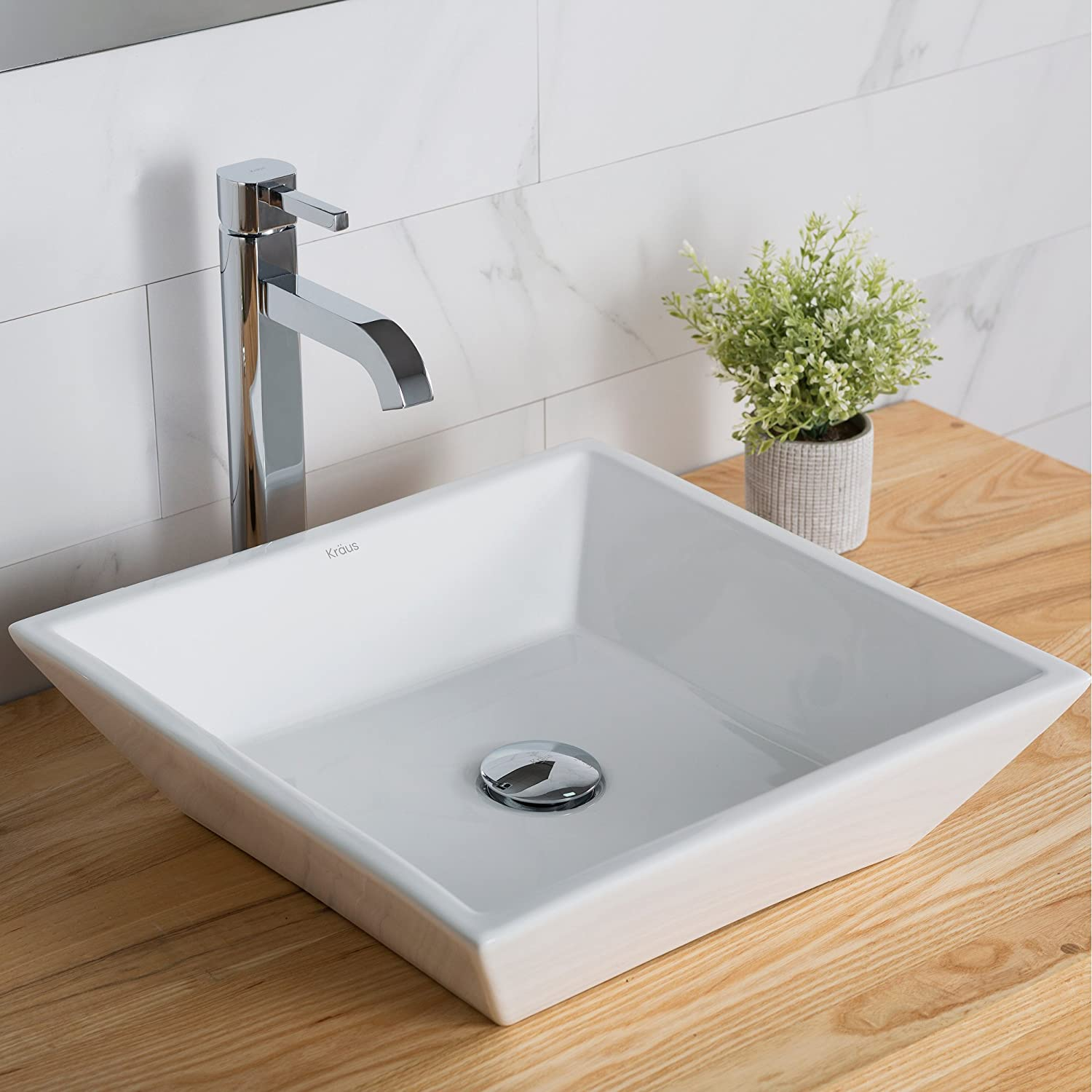 Kraus KCV-125 Ceramic Above counter Square Bathroom Sink, 16.8 x 16.8 x 4.72 inches, White