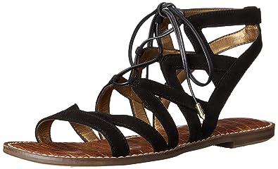 Sam Edelman Women's Gemma Flat Sandal, Black Suede, ...