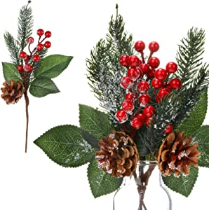 12 Pieces Pine Snowy Flower Picks Artificial Holly Red Berry Pine Cone Picks Fake Berries Pine Cones for Christmas Crafts Party Festive Home Decor 11 Inch Flexible Stems