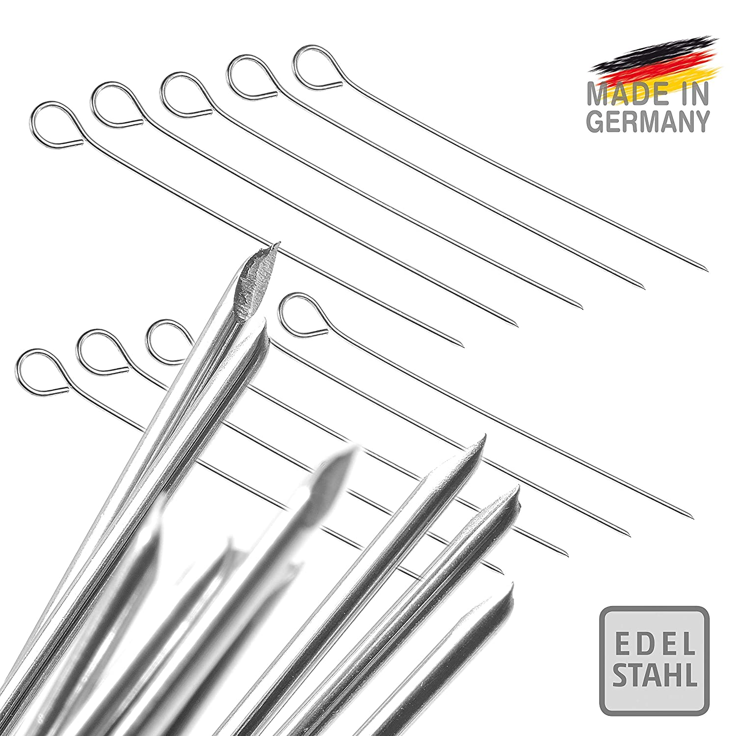 Roulade Needles Stainless Steel//Barbecue skewers Cocktail Sticks Made in Germany 10 pcs.