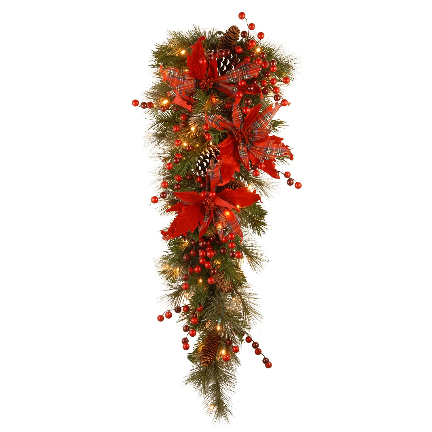 National Tree 9 Foot by 12 Inch Decorative Collection Tartan Plaid Garland with Red Berries, Cloth Poinsettia, Cones and 50 Battery Operated Warm White LED Lights (DC13-147-9BB-1)