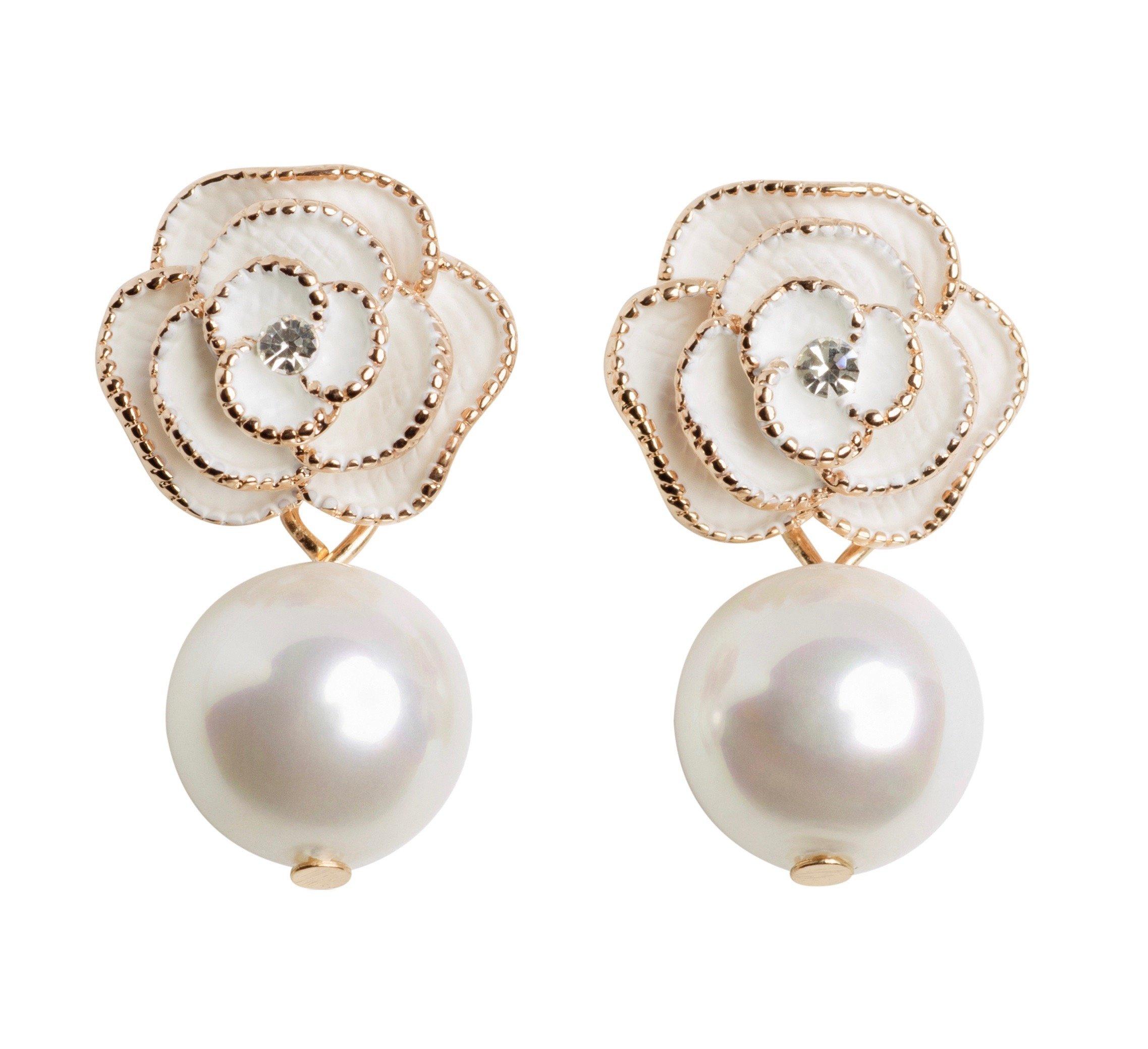 MISASHA Designer Imitation Pearl Camellia Charm Dangle Earrings For Women