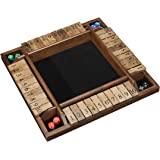 4 Player Shut The Box(TM) dice Game by WE Games - 14 inches Walnut Wood – 1 to 4 Players can Play at The Same time for…
