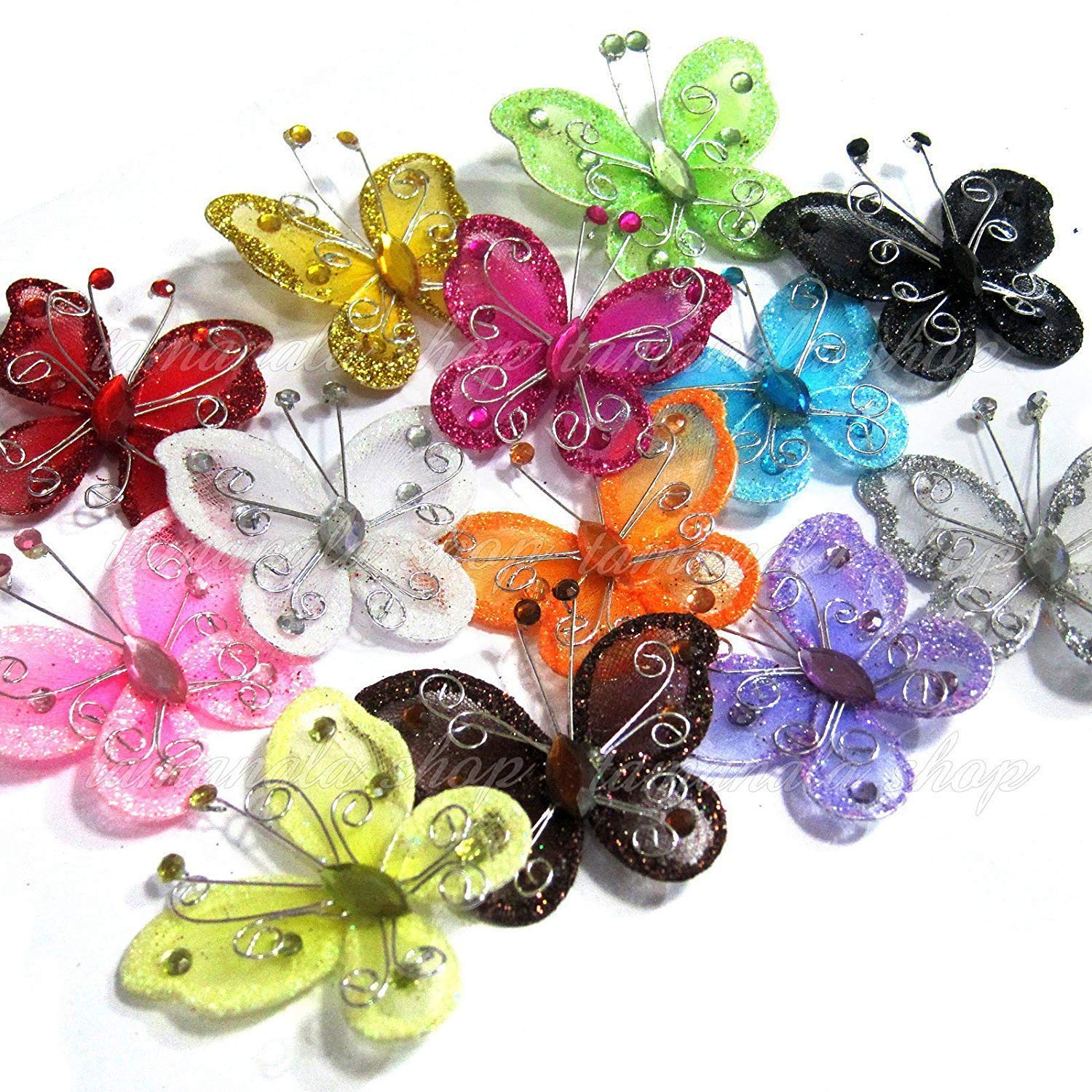 Assorted Colors 2 Nylon Glitter Butterfly Wedding Party Table Scatter Scrapbook Craft Card Decoration Pack of 24