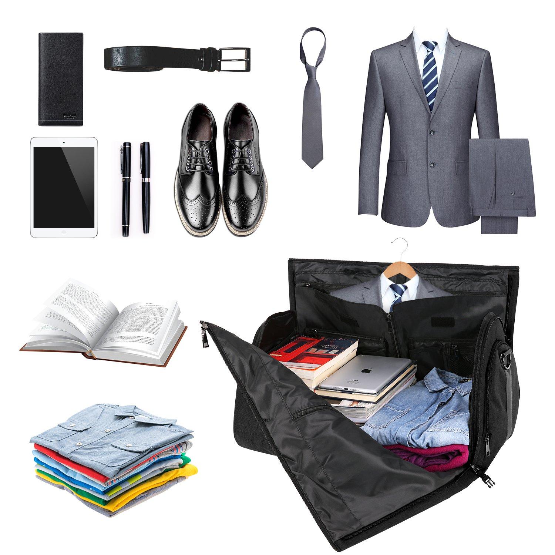 Carry-on Garment Bag Suit Travel Bag Duffel Bag Weekend Bag Flight Bag Gym Bag - Black by UNIQUEBELLA (Image #5)