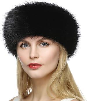 Dikoaina Womens Faux Fur Headband Winter Earwarmer Earmuff Hat Ski