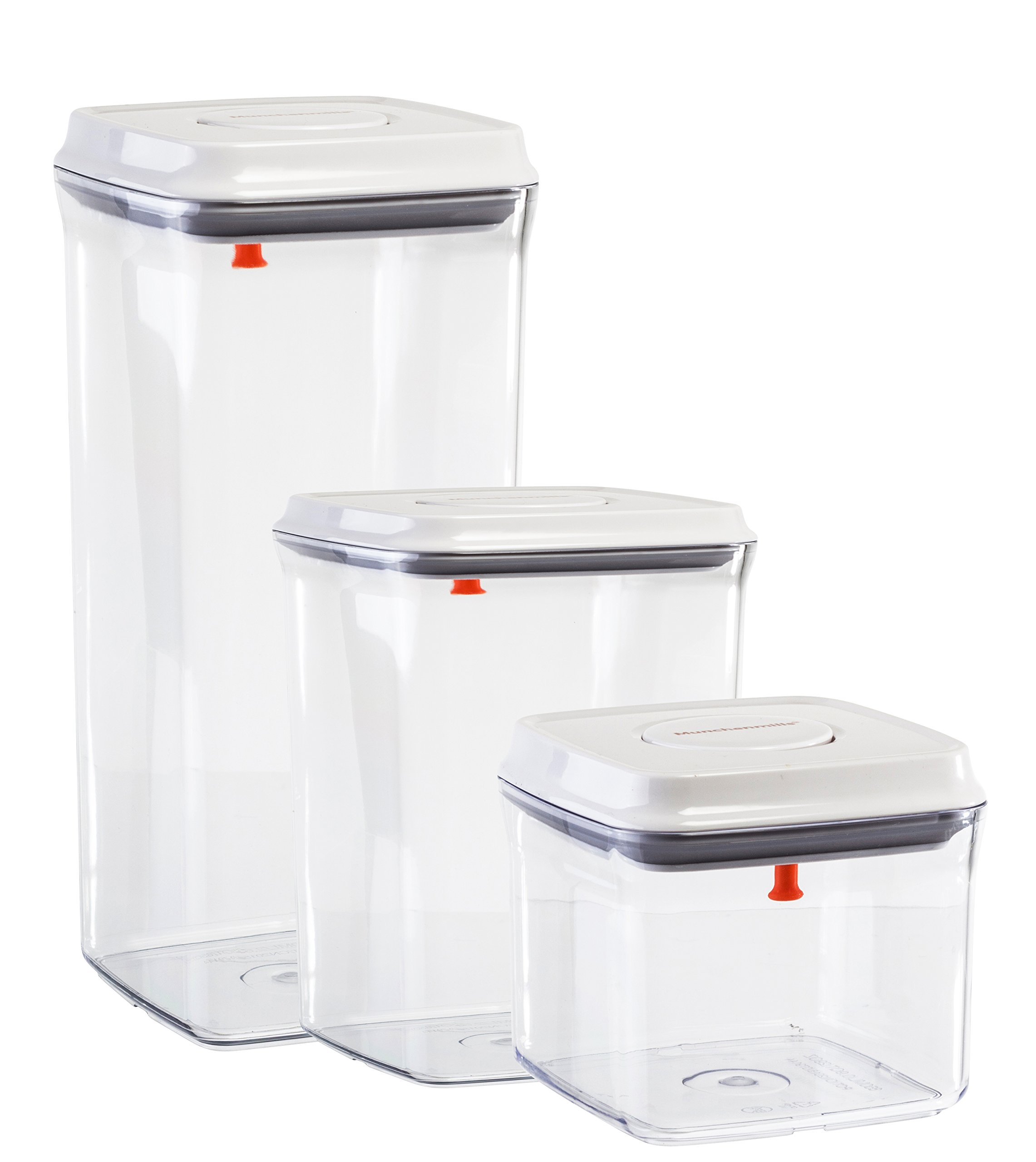 Food Storage Containers Set of 3 Airtight Seal with Push Button