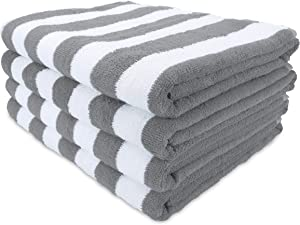 Arkwright Oversized Beach Towels (30x70, 4-Pack), Ringspun Cotton Double Yarn Strength, Perfect Grey Striped Pool Towel, Beach Towel, Bath Towel