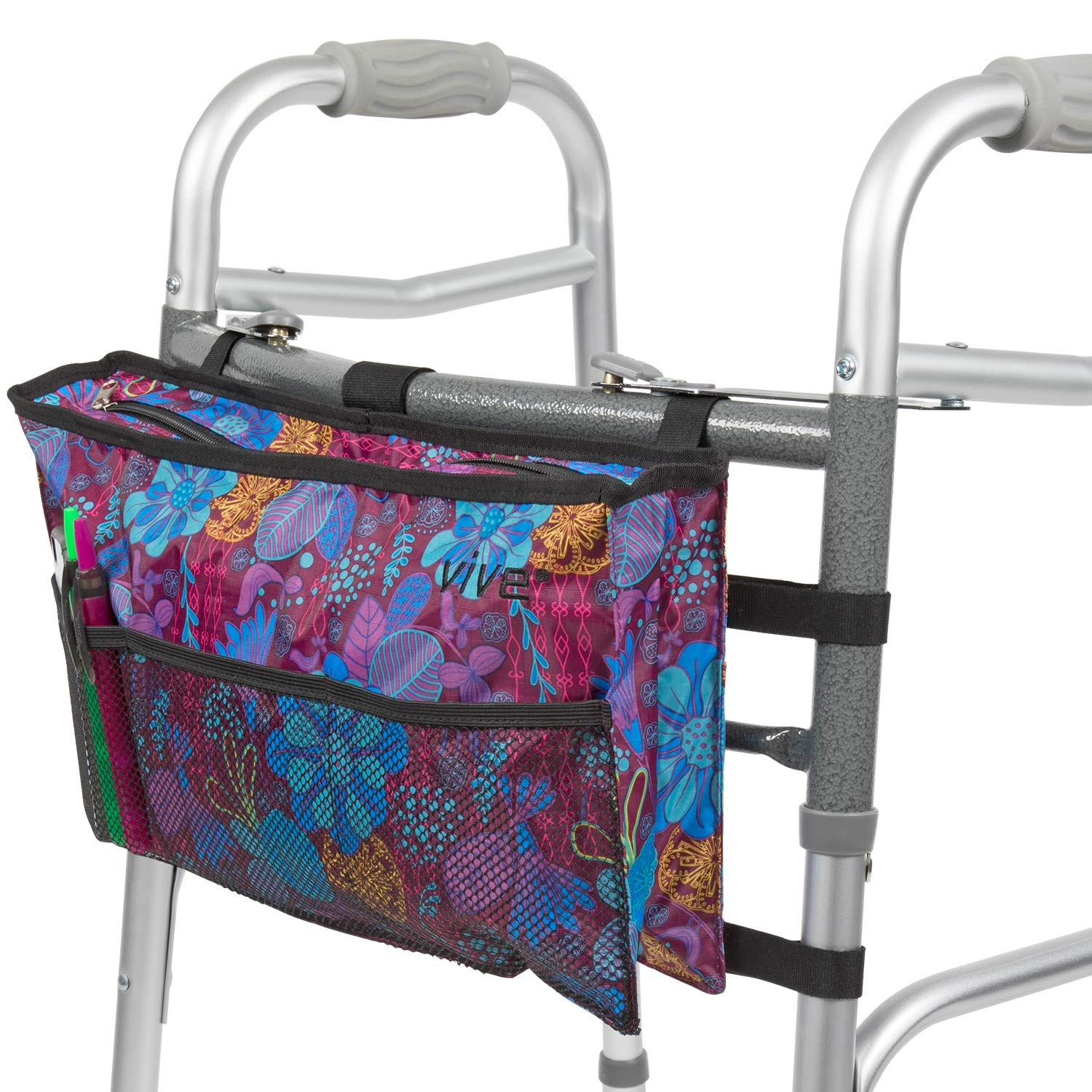 Vive Walker Bag - Water Resistant Accessory Basket Provides Hands Free Storage for Folding Walkers - Attachment Fits Wide and Narrow Styles - Tote Caddy Pouch for Elderly, Seniors, Handicap, Disabled by Vive