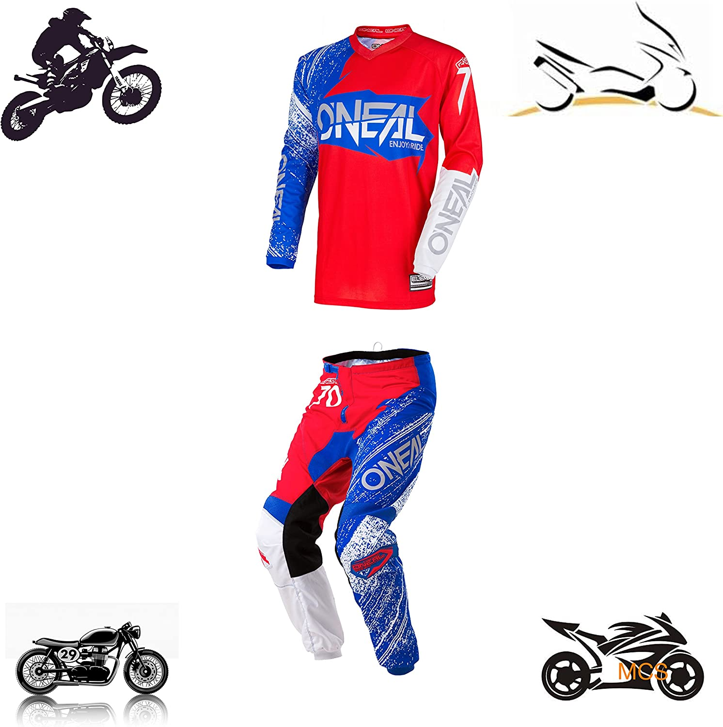 Pantal/ón Camiseta Oneal Talla 44S bornout Rojo Blue Flou Cross Enduro Quad