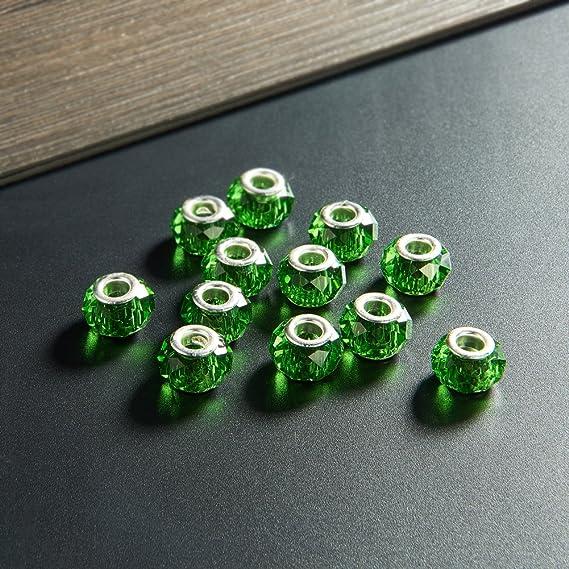14/mm di diametro Nbeads 100/pezzi Handmade europeo vetro perline distanziatori con fori grandi argento color ottone Core foro: 5/mm Clear 8/mm di spessore
