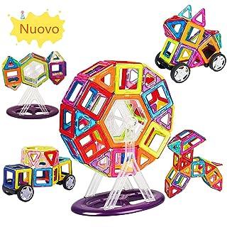 amzdeal Costruzioni Magnetiche Bambini Kit 66 Pezzi di Blocchi Costruzioni Giocattolo Educativi 3D Magnetiche Regalo per Bambini- Arcobaleno Colori