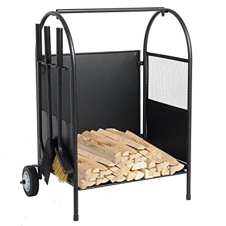 Exceptional WOLTU Metal Firewood Storage Rack Fireplace Log Holder Outdoor Indoor Log  Bin With Wheels And Tool