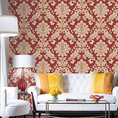 HaokHome 561406 Vintage Luxury Damask Wallpaper Crimson Red/Beige/Gold  Glitter Wall Murals Bedroom Part 96
