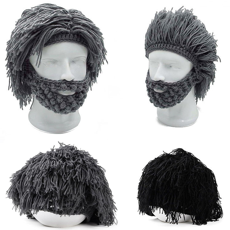 a6e73ad3a7d Toyofmine mens boys funny wig beard hats hobo mad caveman winter knit warm  hat beanies grey