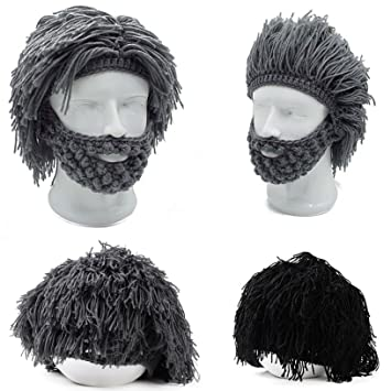 a644a5d65f8 Image Unavailable. Image not available for. Color  Toyofmine Mens Boys  Funny Wig Beard Hats Hobo Mad Caveman ...