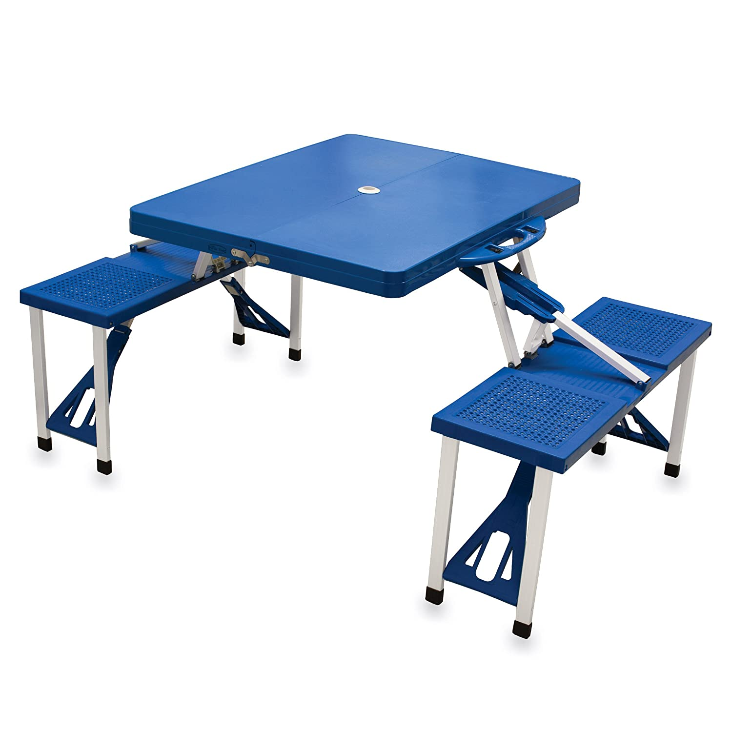 amazoncom picnic time folding picnic tableu0027 with seating for 4 blue picnic basket sets patio lawn u0026 garden - Folding Table And Chairs