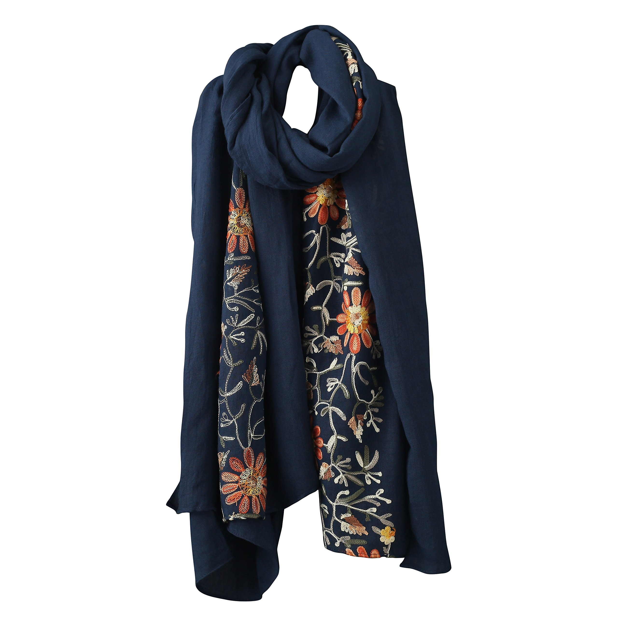 Welltogther Womens National Style Lightweight Neck Scarves Flower Wrap Shawl (Navy)
