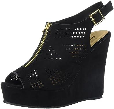 6d5ee6b7cb4d Qupid Women s PEEP Toe Slingback Wedge Heeled Sandal