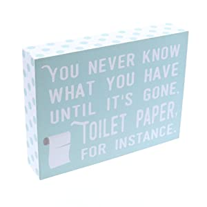 """Barnyard Designs You Never Know What You Have Until Its Gone Toilet Paper Humor Box Wall Art Sign, Primitive Country Farmhouse Bathroom Home Decor Sign With Sayings 8"""" x 6"""""""