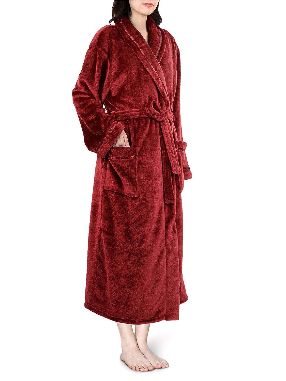 Premium Women Fleece Robe with Satin Trim | Luxurious Super Soft Plush Bathrobe PAVILIA