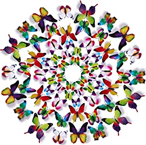 Amaonm 60 Pcs 5 Packages Beautiful 3D Butterfly Wall Decals Removable DIY Home Decorations Art Decor Wall Stickers & Murals for Babys Bedroom Tv Background Living Room (Rainbow)
