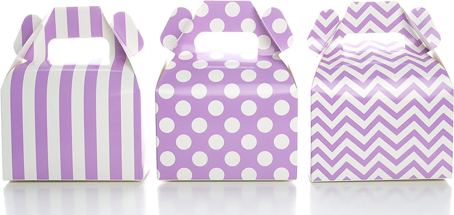 Food with Fashion Party Favor Boxes, Purple Gift & Candy Boxes, 36 Pack - Stripe, Polka Dot, Chevron Zig-Zag Mini Purple Gable Boxes, Birthday Favors Party Treat Boxes