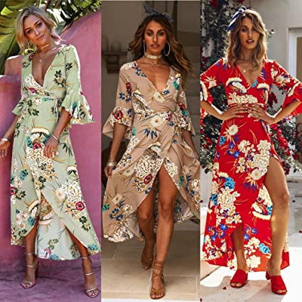 2c5d93f15d Amazon.com: Hemlock Wrap Dress Hawaii Sundress Long Maxi Dress Women V Neck  Floral Boho Dress (XXL, Khaki): Home Audio & Theater