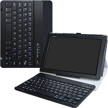 ASUS ZenPad 10 Teclado Funda,LiuShan Detachable Wireless Teclado (Teclado QWERTY Formato inglés) PU Cuero con Soporte Caso para 10.1