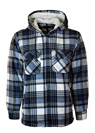 Mens Thick Padded Sherpa Fleece Fur Lined Check Lumberjack Shirt Winter Work Shirts & Hemden