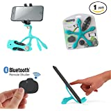 Gekkopod Pro Smartphone Mount Now with Selfie Remote - Portable and Flexible Smartphone Stand And GoPro Tripod Wrap, Hung and Clung Practically Anywhere Compatible with all Cellphones (Light Blue)