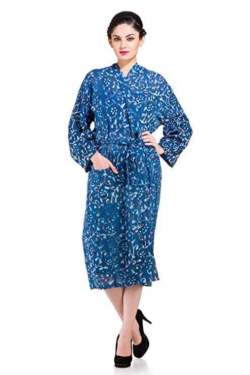 606980da70 Buy Handicraft-Palace Women s Cotton Full Sleeve Knee Length Floral Printed  Bathrobe Nightwear Bikini Cover-up