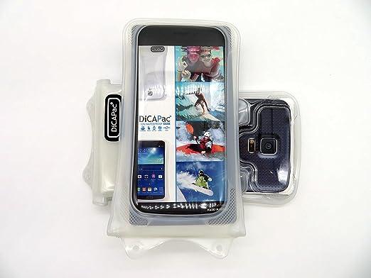 Funda universal sumergible DiCAPac WP-C1 para smartphones de Orange Gova / Reyo / Rono en Blanco (Sistema de sujeción con velcro doble; protección certificada bajo el agua IPX8 hasta 10 m de