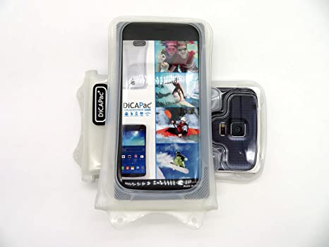Dicapac Wp C1 Universal Waterproof Case For Motorola Droid Maxx Razr Hd Maxx Hd Turbo Ultra In White Double Velcro Locking System Ipx8 Certified
