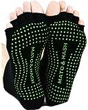 Mato & Hash Toeless Half Toe Yoga Socks With Grip