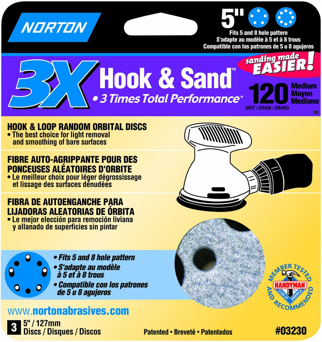 3-Pack 5-Inch Norton 03230 3X Hook and Sand 120 Grit Universal Vac Hole Sanding Disc
