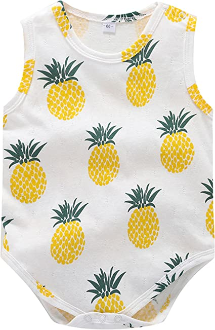Yellow, 6-12 Months Pineapple Print Sleeveless Romper Newborn Girl for 0-18Months
