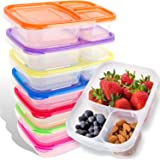 Bento Lunch Box | Meal Prep Containers | 7 Pack | Leak Proof | Reusable 3-Compartment Plastic Divided Food Storage Container Boxes for Kids & Adults | Microwave, Dishwasher and Freezer Safe Lucentee