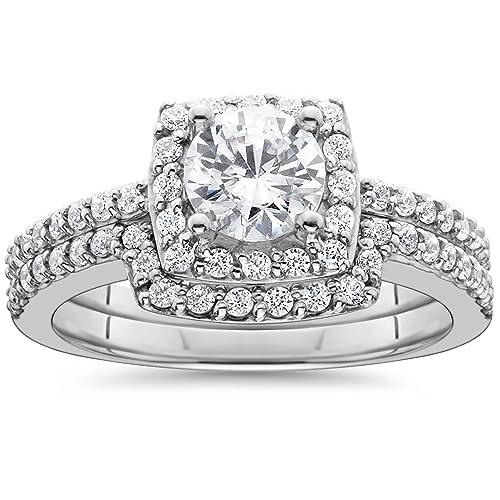 1 1/4ct diamante cojín de Halo Compromiso a juego anillos de ...