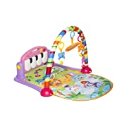 MooToys Kick and Play Newborn Toy with Piano for Baby 1 - 36 Month, Lay and Play, Sit and Play, Activity Toys, Play Mat Activity Gym for Baby. Pink