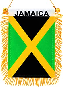 "Anley 4"" X 6"" Jamaica Fringy Window Hanging Flag - Mini Flag Banner & Rearview Mirror Décor - Fringed, Double Sided, Jamaica Rearview Flag with Suction Cup"