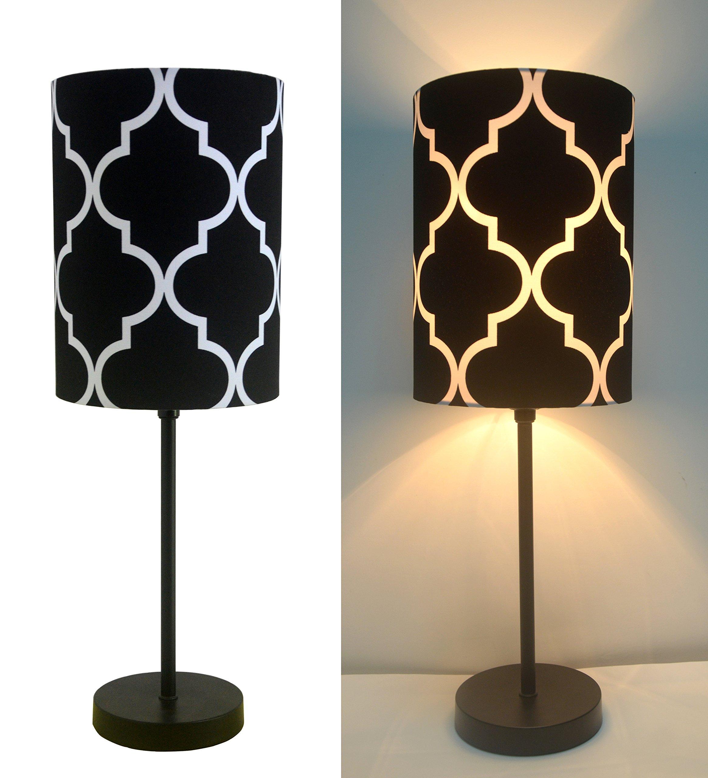 16'' H Mini Living Room Indoor Table Lamp Metal Base (Black)