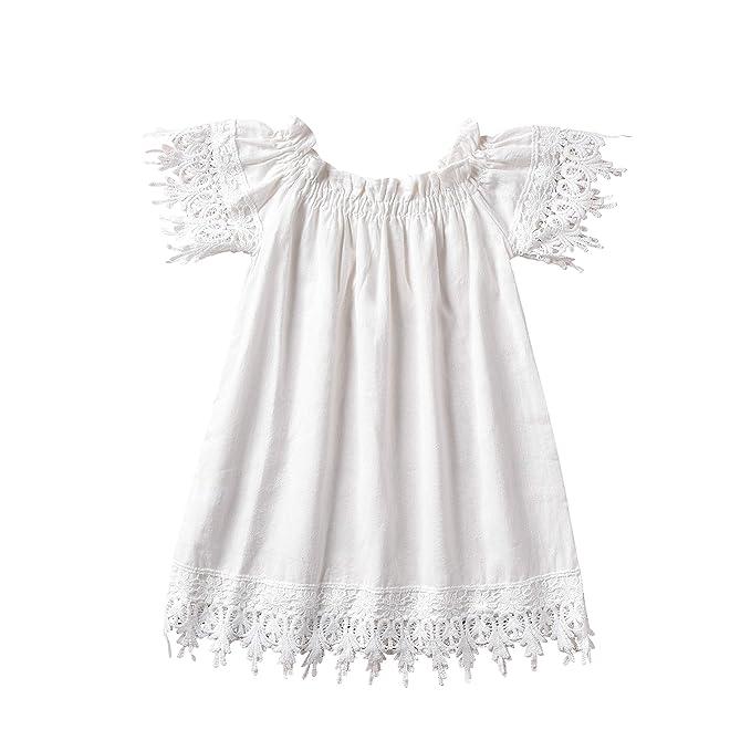 Amazon.com: Niños Bebé Niñas Blanco Sin Hombro Vestido de ...