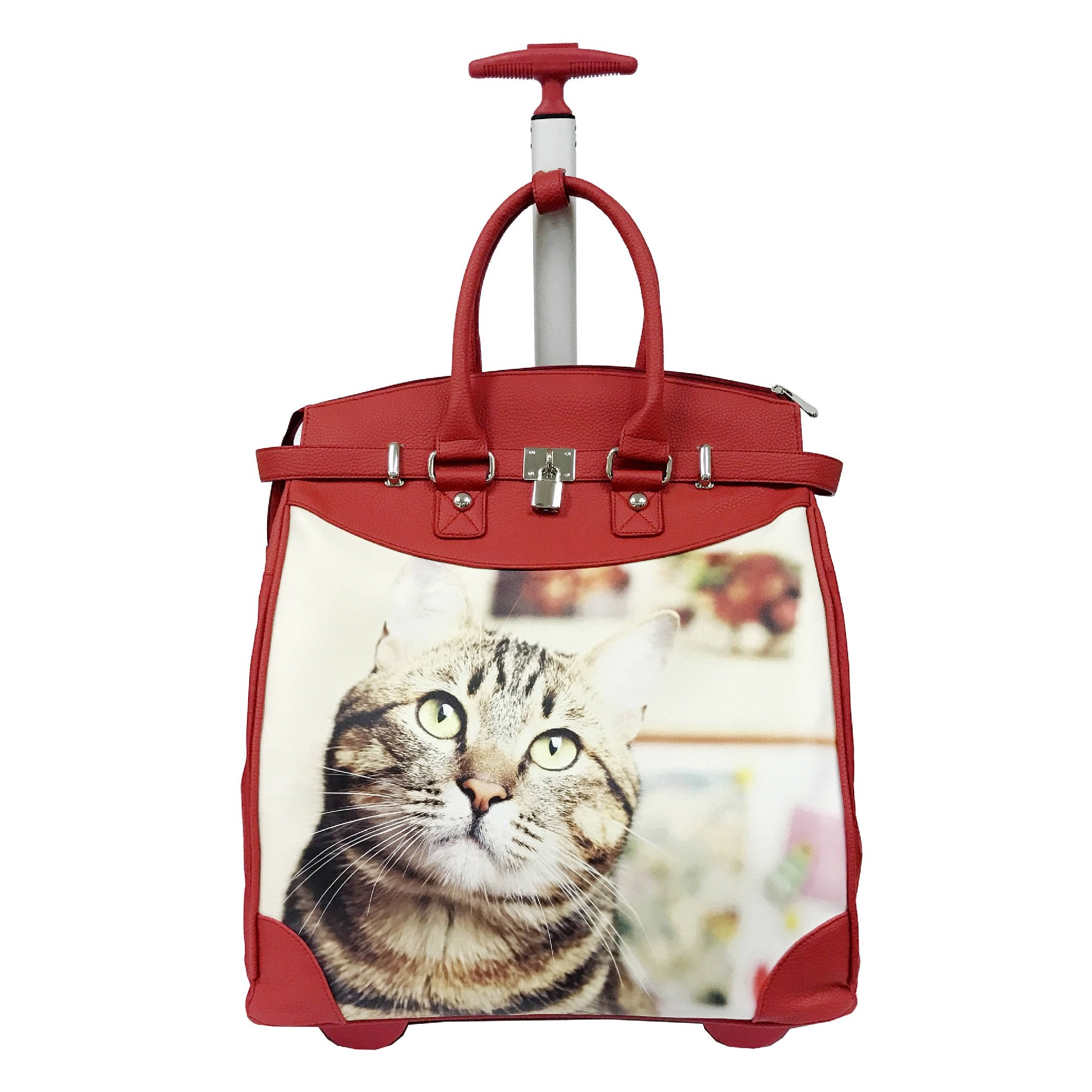 Day Dreaming Kitten Prince Theme Carry On Rolling Foldable Laptop Tote, Graphic Playful House Pet Animals Pattern, Multi Compartment, Fashionable, Checkpoint Friendly Travel Bag, Red, Ivory, Size 14'' by S & E