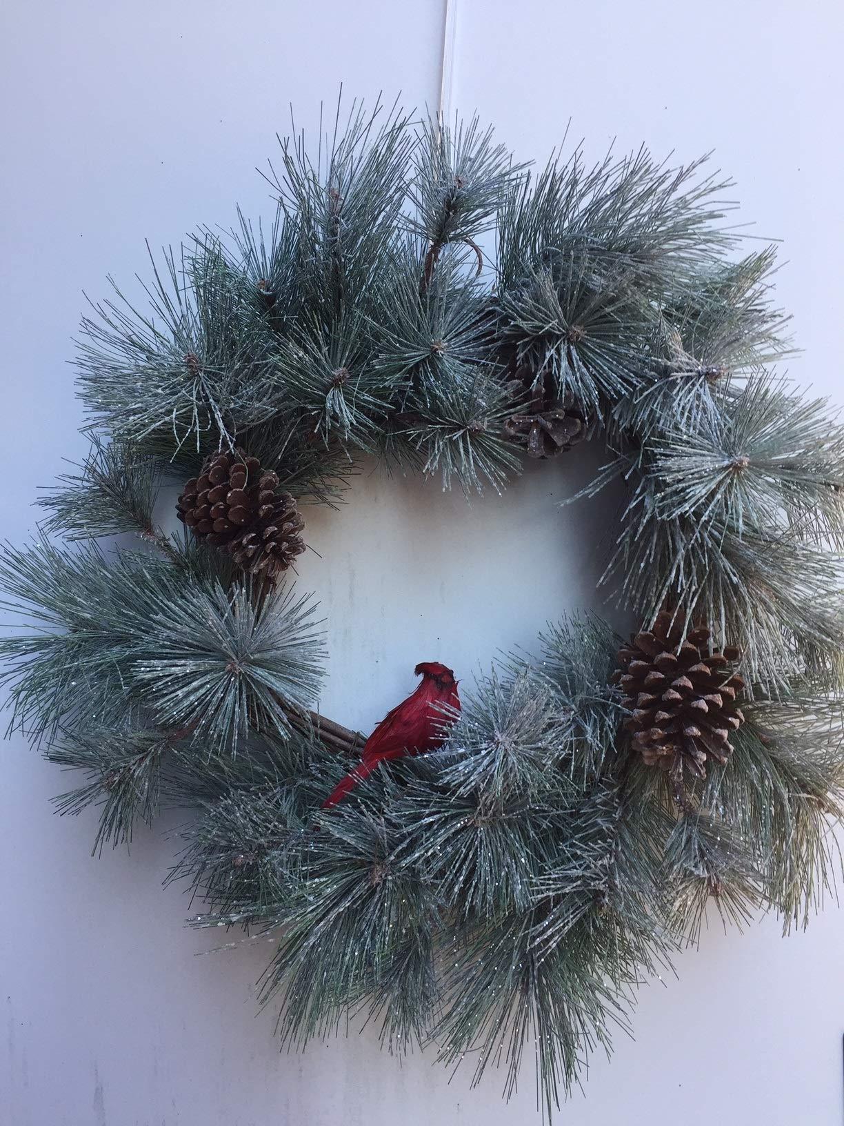 Wreaths For Door Cardinal in The Woods Winter Door Wreath Artificial Flocked Snowy Pine Pinecone with Red Bird Winter Farmhouse Wreath 22''