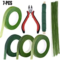 Outgeek Floral Arrange t Kit 7 Pack Floral Tools Includes Wire Cutter Green Floral Tapes Floral Wires Paddle Wire for Bouquet Stem Wrap Florist One Size Multicolor